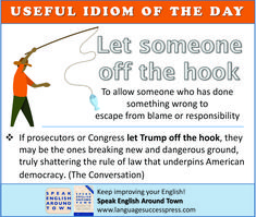 What does it mean to 'let someone off the hook'? Find out here. And learn more idioms from Speak English Around Town. Learning English Online, English Idioms, American English, Learn English, Esl, Vocabulary, Improve Yourself, Student, Let It Be
