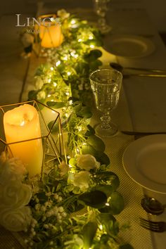 Handcrafted Ivory Flowers + Eucalyptus Leave Garland with LED Light – Ling's moment Wedding Aisle Decorations, Flower Decorations, Wedding Table, Diy Wedding, Wedding Ideas, September Wedding Centerpieces, Simple Wedding Centerpieces, Wedding Shot, Tent Wedding