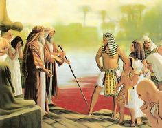 Moses struck the water in Egypt with his rod and all the waters turn red with blood . Exodus Bible, Bible 2, Scripture Art, Bible Photos, Bible Pictures, Jesus Pictures, Spiritual Pictures, Religious Pictures, Ancient History