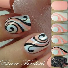 Beautiful nail art designs that are just too cute to resist. It's time to try out something new with your nail art. Fancy Nails, Diy Nails, Cute Nails, Pretty Nails, Colorful Nail Designs, Cute Nail Designs, Colourful Nail, Nagellack Party, Swirl Nail Art