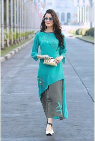 Shop teal blue-gray colored designer partywear georgette kurti , freeshipping all over the world , Item code Dress Neck Designs, Kurti Neck Designs, Kurta Designs Women, Kurti Designs Party Wear, Designs For Dresses, Tunic Designs, Pakistani Dress Design, Pakistani Dresses, Indian Dresses