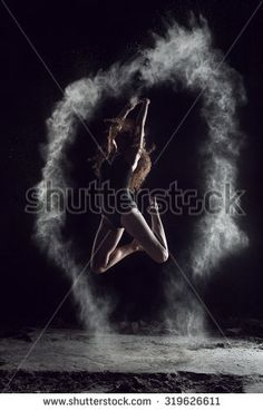 ballerina dancing with flour, jump.