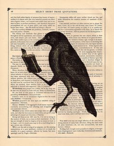 Book Raven Art Print - on a Antique Book page vintage dictionary crow art print. .