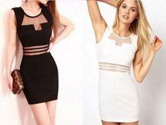 vestidos com tule nas cores branca e preto