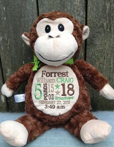 Personalized Baby Gift Monogrammed Monkey Birth Announcement by WorldClassEmbroidery Monkey Nursery, Baby Animal Nursery, Baby's First Birthday Gifts, Baby Girl Birthday, Personalized Baby Gifts, Monogram Gifts, Baby Girl Gifts, New Baby Gifts, Baby Girl Announcement
