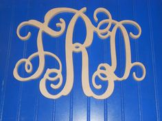 12 Wooden Vine Monogram Unfinished wood letters by LetterDepot, $12.00
