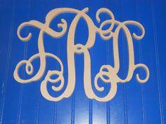 12 Wooden Vine Monogram Unfinished wood letters by LetterDepot, $12.00
