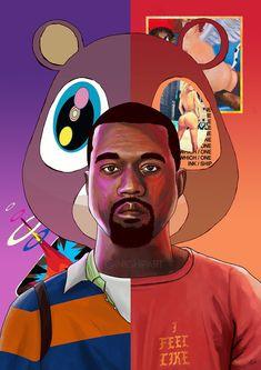 Kanye West Poster, Hip Hop Music Art Print, Large Size, Gift for Boyfriend, Hypebeast Cartoon Kunst, Cartoon Art, Hip Hop Musik, Kanye West Wallpaper, Bd Pop Art, Music Poster, All Poster, Hypebeast, West Art