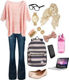 Back to school outfits that this time include some good hair ideas that would look good with the outfit.