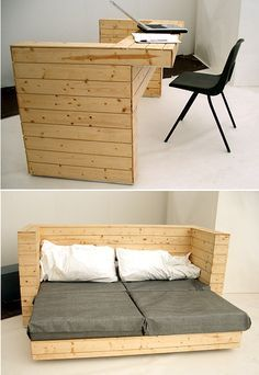 Pallets Convertible sofa/desk/couch/table no plans