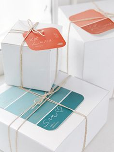 Paint colour swatches as gift tags...great idea and free!