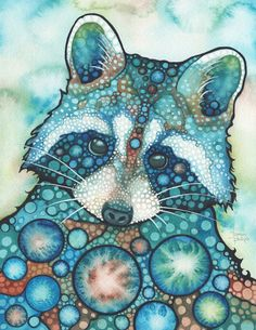 RACCOON - print of adorable watercolor painting artwork turquoise teal earth tones, animal portrait, cute halloween cutie woodland urban Raccoon Print, Animal Art, Drawings, Painting, Illustration Art, Art, Watercolor Artwork, Artwork Painting, Original Watercolors