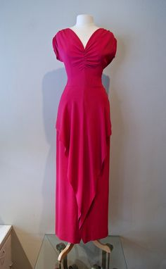 Vintage Gown // 1940's Magenta Flowing Rayon by xtabayvintage, $125.00