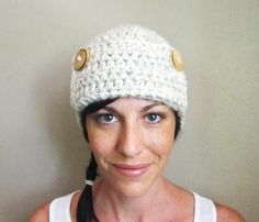 Chunky Bomber Hat PDF CROCHET PATTERN amelia earhart button beanie for her. $5.00, via Etsy.