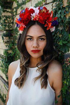 Lunacandy Statement Flower Headband/Crown: Spring, Races, Tropical, Festival, Garden Party