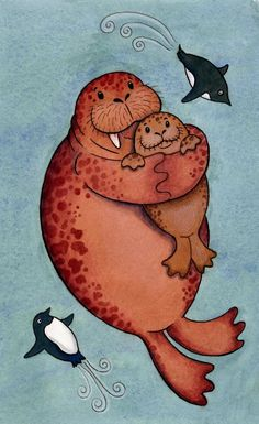 Walrus Hug Print - Arctic Sea Life, Penguins, Ocean via Etsy Ink Illustrations, Cute Illustration, Cute Images, Cute Pictures, I Am The Walrus, Baby Art, Cute Art, Hug, Art Drawings