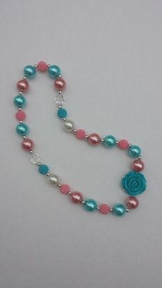 Turquoise and Pink Chunky Bead Bubblegum by BottomsNBows on Etsy