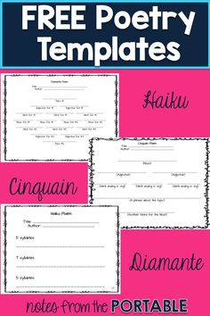 I love these FREE poetry templates!  So easy to teach haiku, cinquain, and diamante.  These were perfect for my writing center, and easy to make a quick bulletin board.  The perfect addition to any poetry or writer\'s workshop.