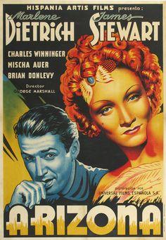 DESTRY RIDES AGAIN (1939) - Marlene Dietrich - James Stewart - Charles Winninger - Mischa Auer - Brian Donlevy - Directed by George Marshall - Universal Pictures - Spanish movie poster.