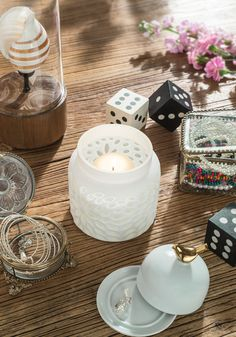 SoHo Tabletops, Two Tone White Cut Glass Candle Vase ★ Creative Co-Op Home