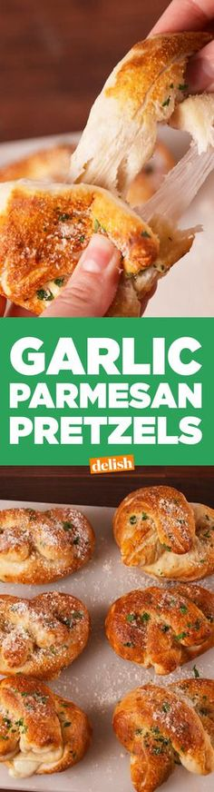 Best Garlic Parmesan Soft Pretzels Recipe - How to Make Garlic Parmesan Soft Pretzels Finger Food Appetizers, Appetizer Recipes, Snack Recipes, Cooking Recipes, Tasty Snacks, Cheese Snacks, Holiday Appetizers, Finger Foods, Yummy Recipes