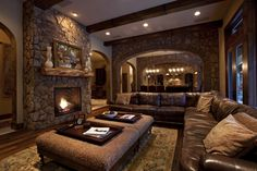 21 Amazing Rustic Living Design-The Rustic interior design is all about nature. Woods, Stones, wrought iron, natural fabrics and metals are used for the rustic designs.checkout our collection of 21 Amazing Rustic Living Design Ideas. Basement Living Rooms, Living Room Interior, Style Salon, Rustic Room, Rustic Decor, Western Decor, Bedroom Rustic, Western Theme, Rustic Design