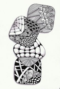 A great idea for a quick zentangle. It could be done with circles too. Zentangle Drawings, Doodles Zentangles, Doodle Drawings, Doodle Art, Zen Doodle, Zantangle Art, Zen Art, Doodle Patterns, Zentangle Patterns