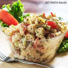BLT Pasta Salad - 1lb cooked & cooled rotini pasta, 3 diced celery, ½ diced red onion, 1½ C cherry tomato-cut in half, 15 slices pre-cooked bacon-cut into pieces.  Dressing:  2 C light mayo, 3 Tbs sugar, 2 tsp white vinegar, 1 Tbs parsley, 1 Tbs onion powder,  Salt & pepper:  Combine dressing ingredients. Add in the rest of the ingredients & mix well.