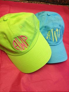 Personalize Your Life monogrammed ball caps at Lucy's!