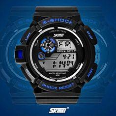 New Men's Blue & Black Shock Protection Digital Quartz Watch