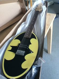 Batman electric guitar @ChyAnne Brien, I have pinned this for you  Ahhhh @Becca niceeeee (now we need to find a thor drumset.)