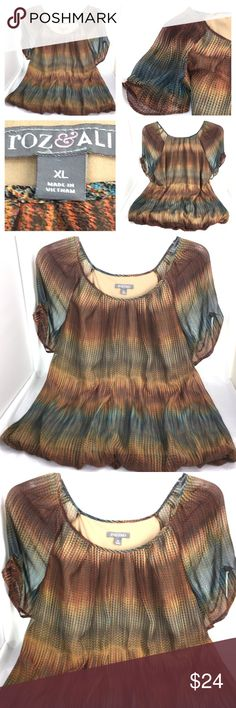"""Roz & Ali Pleated Stretch Multicolor Dressbarn XL Roz & Ali Dressbarn Womens Top / Blouse Boho Size XL Short sleeve Pleated Bubble hem with elastic / bunched waist Stripes Multicolor - (Red Blue Orange Green) 100% Polyester Great condition. No holes, stains or rips  Approximate measurements taken on a flat surface:  23"""" Wide (underarm to underarm) 24"""" Long  Thank you for stopping by. Please MAKE an OFFER or visit my Posh Closet to BUNDLE and SAVE! Roz & Ali Tops Blouses"""