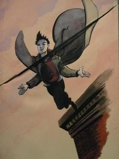 Isaac Mendez' (Santiago Cabrera) paintings of Peter jumping off a building, arms outstretched, flying. #heroes This item was used in connection with the Season 1 episode titled, 'Genesis'. http://heroesauctions.com