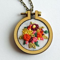 Custom Floral Mini Embroidery Hoop Necklace by IttyBittyBunnies