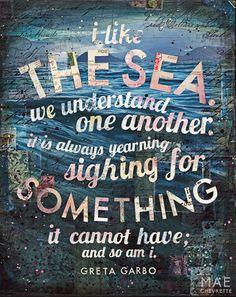 And So Am I  paper print  inspirational ocean word door maechevrette, $20.00
