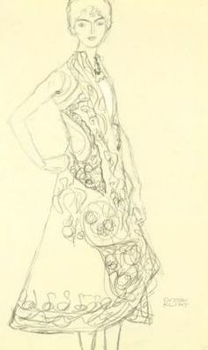 Pencil Drawing Patterns Gustav Klimt:Woman In Richly Patterned Dress, Right Hand Resting On Hip - Woman In Richly Patterned Dress, Right Hand Resting On Hip Gustav Klimt, Easy Drawings, Pencil Drawings, Art Nouveau, Most Famous Paintings, Oil Painting Reproductions, Life Drawing, Drawing Tips, Sculpture