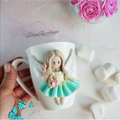 Polymerclay dolls Mug with doll Mug with decor Unique mug gift Handmade cup Porcelain cup Coffee tableware Personalised mug Easter decor Polymer Clay Dolls, Polymer Clay Crafts, Personalized Ornaments, Personalized Mugs, Easter Toys, Biscuit, Cute Mugs, Gifts For Girls, Gifts In A Mug