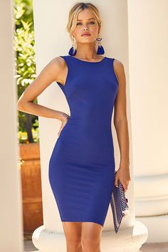 When you're in the mood to feel fine and fancy, take the Like a Lady Royal Blue Backless Midi Dress for a spin! Medium-weight stretch knit forms this unstoppable ensemble with a high, rounded neckline, classic bodycon fit, and stylish midi-length hem. Overlapping accents frame the low scooping back for an eye-catching accent!
