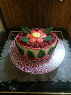 Raspberry filled cake