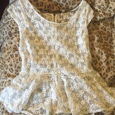 White floral lace peplum top Cute sheer peplum top with exposed zipper down the back! No pay pal no trades. Offer away! American Eagle Outfitters Tops