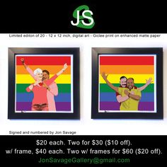 Limited edition of 20 - 12 x 12 inch, digital art - Giclee print on enhanced matte paper. email me at JonSavageGallery@gmail.com --------------------------------------- #art #artist #popart #popartist #digitalart #contemporary #contemporaryart #limitededition #pride #lgbt #marriageequality #love #collection #sandiego #california #jonsavagegallery