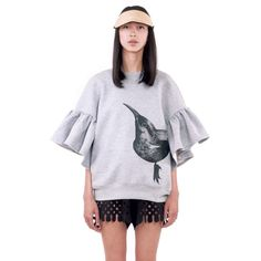 Ioana Ciolacu Daisy Grey Sweatshirt is a loose cropped fleece sweatshirt with a placement screen printed front and back graphic and ruffle sleeves. Tan Shoes, Grey Sweatshirt, Ruffle Sleeve, Daily Fashion, Wide Leg Pants, Ready To Wear, Bell Sleeve Top, Suit Jacket, Women Wear