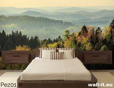 Fototapeta do sypialni za zagłówek lub na boczną ścianę. Tajemniczy górski widok w delikatnej mgle. Wzór nr PEZ01 ©  #fototapety #fototapeta #sypialnia #bedroom #pejzaz #widok #gory #mountains #view #wallit #copright