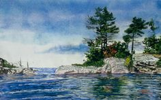 point au baril coming to open water 2 georgian bay x micheal zarowsky / watercolour on arches paper (private collection) Open Water 2, Watercolor Landscape, Watercolour, Paint Techniques, Georgian, Landscapes, Paintings, Memories, Pintura