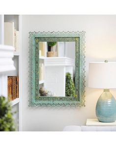 Image result for weathered green frame mirror