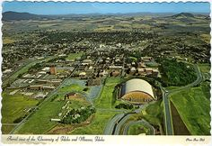Aerial view of the University of Idaho and Moscow, Idaho, circa 1980, just a few years after I went there