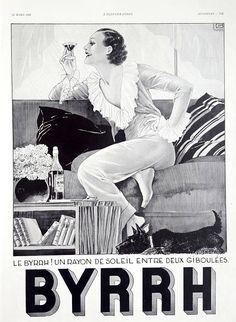 Original Byrrh aperitif vintage advertising, 1933 French magazine ad, vintage poster drink ad old illustration print retro lady drink poster