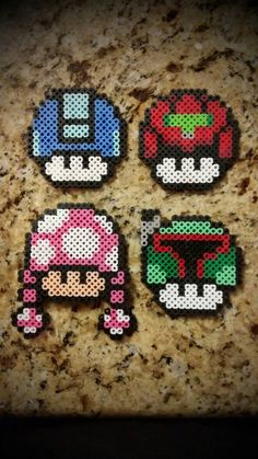 Mario mushrooms perler beads   by SaMuEl-MeLeNdEz
