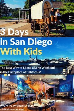 There are many kid-friendly attractions in San Diego! From exploring the waterfront, to visiting Balboa Park and San Diego Zoo, we share our best itinerary how to spend 3 days in San Diego with kids! - Where the Wild Kids Wander - San Diego California With Kids, Visit California, California Travel, San Diego Attractions, Kids Attractions, Visit San Diego, San Diego Zoo, Family Getaways, Weekend Getaways