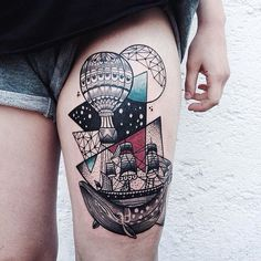 Incredible thigh piece of whale, ship and parachute in geometric style by Jessica K